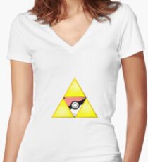 Zelda Triforce ( courage, wisdom, power, and pokemon ) Women's Fitted V-Neck T-Shirt