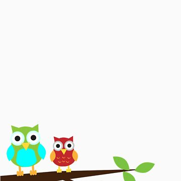 two owls on a branch by chadwtkns