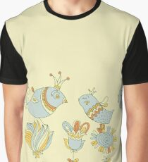 Cute retro flowers and love birds  Graphic T-Shirt
