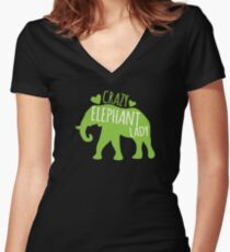 Crazy Elephant lady Women's Fitted V-Neck T-Shirt