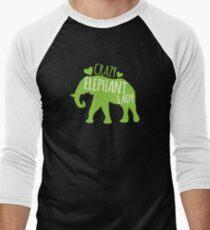 Crazy Elephant lady Men's Baseball ¾ T-Shirt