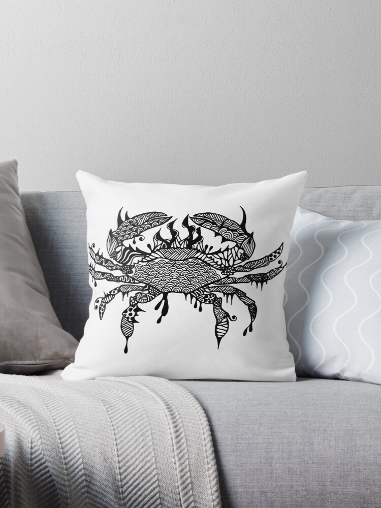 Crab #1 Black and White Doodle Art by MARTY WOODS