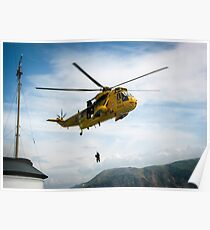 Helicopter at Sea Poster
