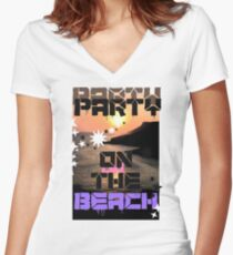 Beach View  Women's Fitted V-Neck T-Shirt