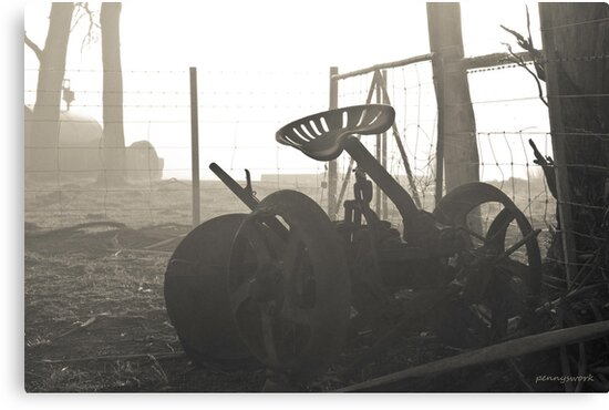 Old Tractor in Fog by pennyswork