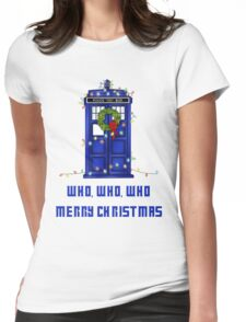 Who, Who, Who, Merry Christmas  Womens Fitted T-Shirt