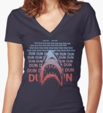 Jaws Theme Swimming Women's Fitted V-Neck T-Shirt