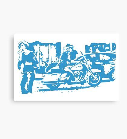 Biker in the Alley VRS2 Canvas Print