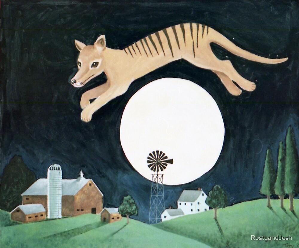 Tassie Tiger Over the Moon (after Lowell Herrero) by RustyandJosh