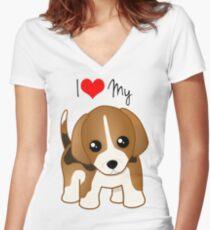 Cute Little Beagle Puppy Dog Women's Fitted V-Neck T-Shirt