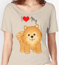 Cute Little Pomeranian Puppy Dog Women's Relaxed Fit T-Shirt