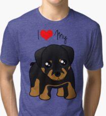 Cute Little Rottweiler Puppy Dog Tri-blend T-Shirt