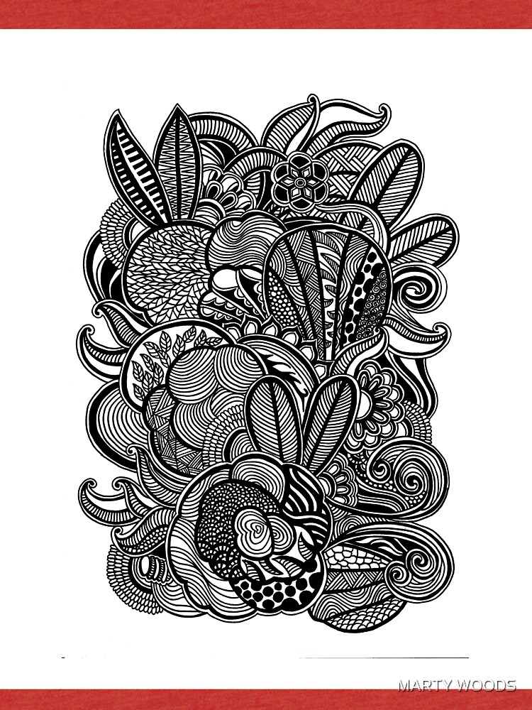 Gardens #2 Black and White Doodle Art by hellomartywoods