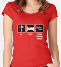 Eat Sleep Watch Vampire Diaries Women's Fitted Scoop T-Shirt