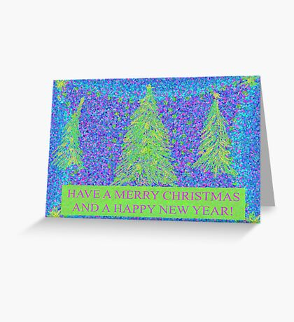 Merry Christmas in Blue and Green Greeting Card