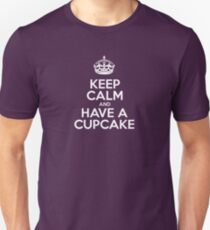 Keep Calm and Have a Cupcake - Pink Stripes Unisex T-Shirt