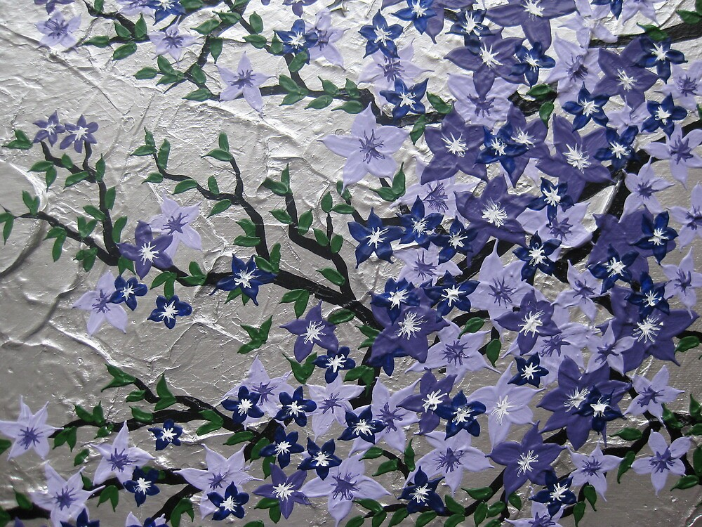 Quot Purple And Silver Flowers With Green Leaves Quot By