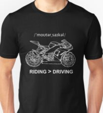 Riding is Greater Than Driving Sportbike White Ink for Dark Colors T-Shirt