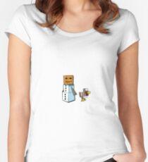 Minecraft Snowman & Chicken Women's Fitted Scoop T-Shirt