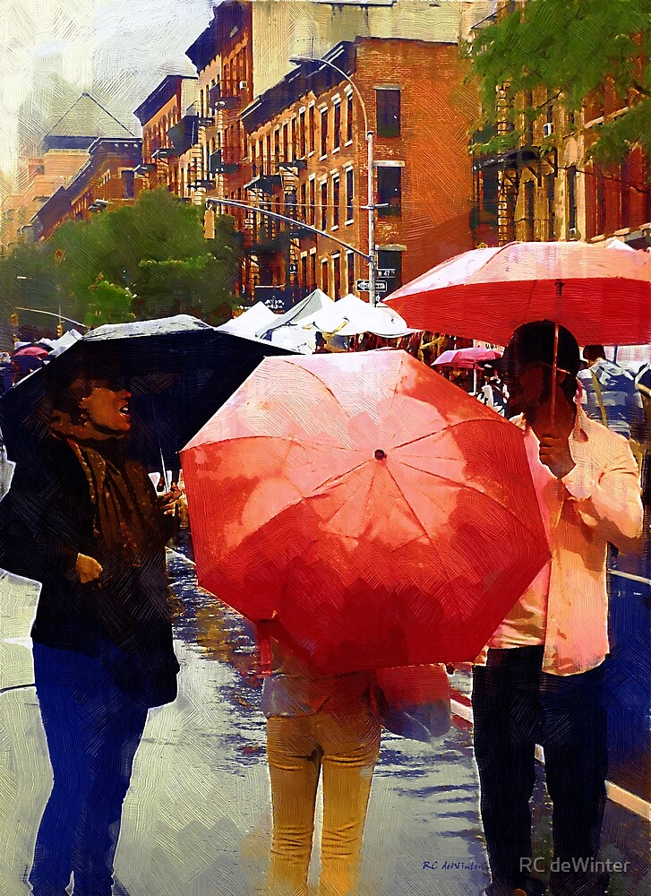 Red Umbrellas in the Rain by RC deWinter