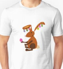 Funny Cool Easter Buny with Decorated Eggs on Ears T-Shirt