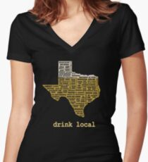 Drink Local (TX) Women's Fitted V-Neck T-Shirt