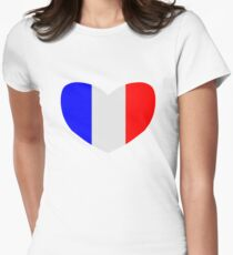 Heart Shaped Flag of France Womens Fitted T-Shirt