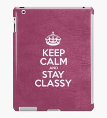 Keep Calm and Stay Classy - Pink Leather iPad Case/Skin