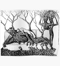 Life of Trees surreal ink pen drawing on paper Poster