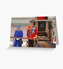 The Queen and The Duke Of Kent after Trooping The Colour Greeting Card