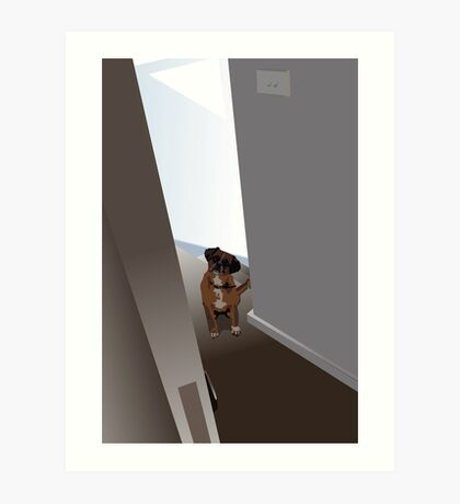 Dog in the doorway who shouldn't be there Art Print