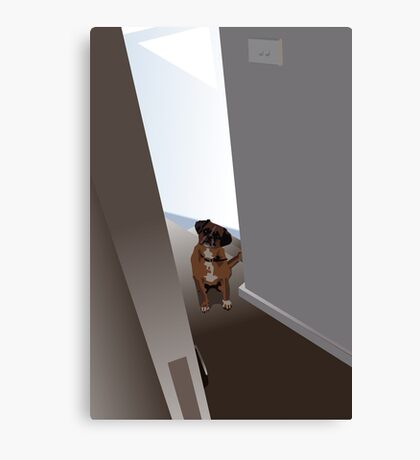Dog in the doorway who shouldn't be there Canvas Print