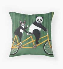 Panda and Cat Bicycle Tandem Throw Pillow