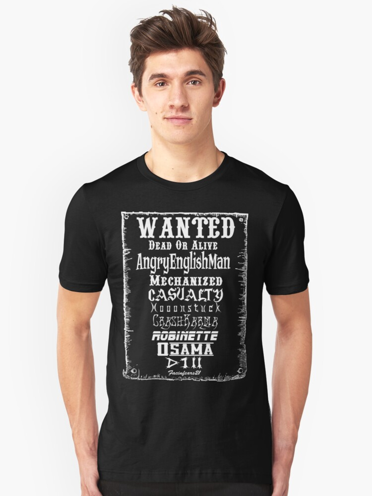 Wanted Shirt WHITE Text by officialnsg