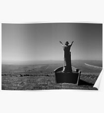 New statue of Manannan Mac Lir sea Lord, son of Lir God of the Sea statue on top of Binevenagh Mountain Poster