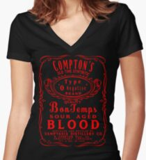 Compton's Old Time O Negative Women's Fitted V-Neck T-Shirt