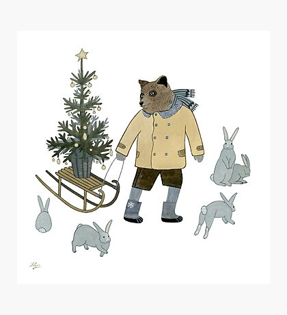 Bear, Christmas Tree and Bunnies Photographic Print