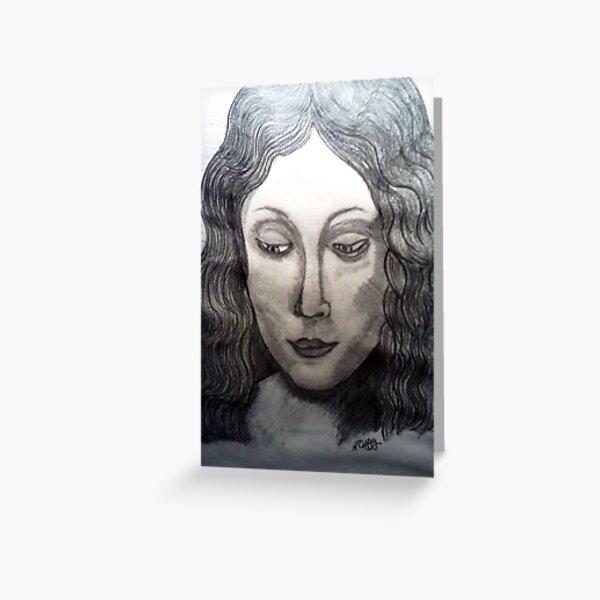 LEONARDO DAVINCIS HEAD OF A YOUNG WOMEN Greeting Card
