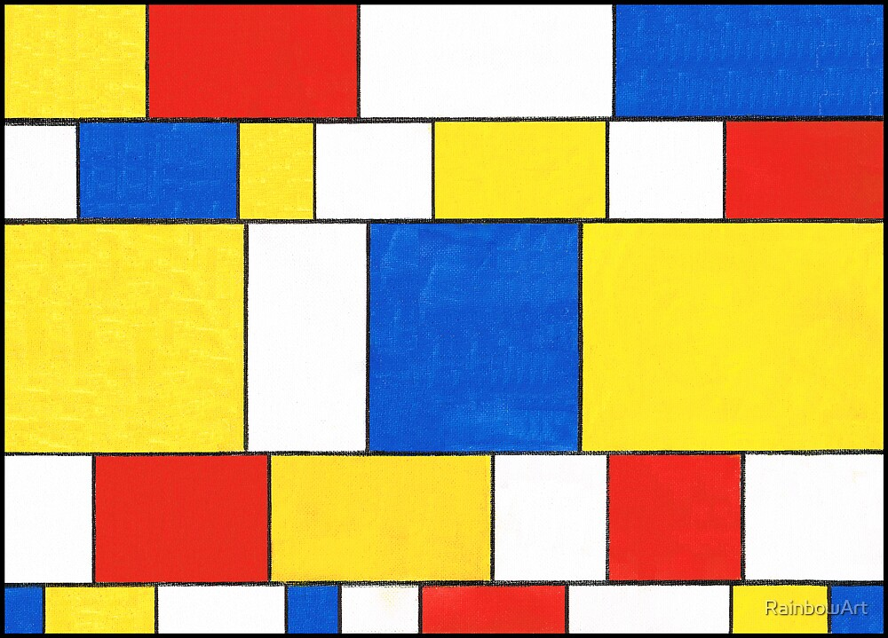 BLUE, RED, YELLOW AND WHITE COLORED AREAS by RainbowArt