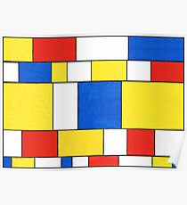 BLUE, RED, YELLOW AND WHITE COLORED AREAS Poster
