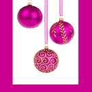 Christmas card with pink baqubles by Cheryl Hall