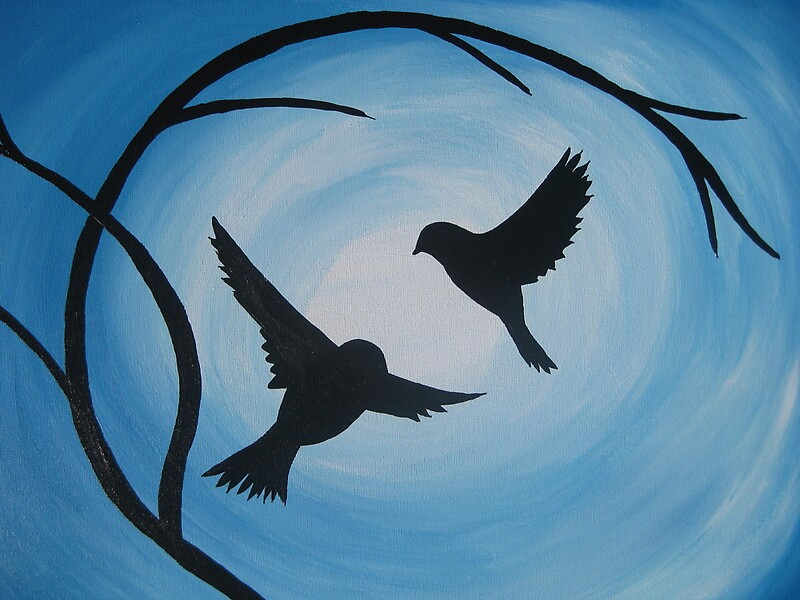 Quot Pale And Bright Blue Painting Of Two Birds And A Branch