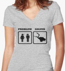 PROBLEM SOLVED WIFE SHOUTING AT DIVER Women's Fitted V-Neck T-Shirt