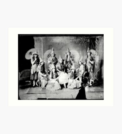 Concert girls photograph - glass negative Art Print