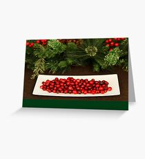 Christmas card with Christmas berries on platter Greeting Card