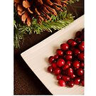 Christmas card with berries on platter by Cheryl Hall