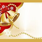 Christmas card with gold bells and pearls by Cheryl Hall