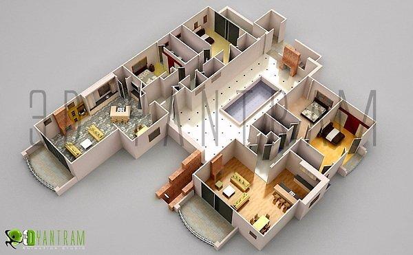 3d plano de planta 2 js by Ruturaj Desai