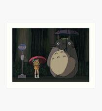 Totoro Rain scene Art Print