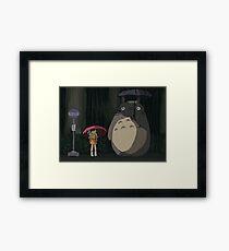 Totoro Rain scene Framed Print